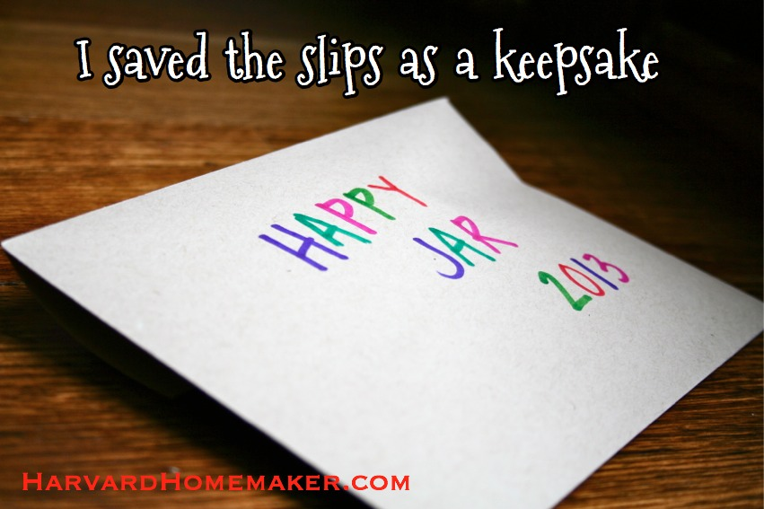 Happy Jar Slips as a Keepsake