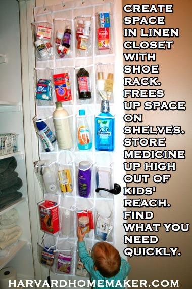 Shoe Rack in Linen Closet