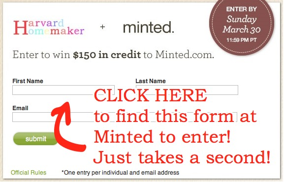 Click here to find this form to enter Minted giveaway