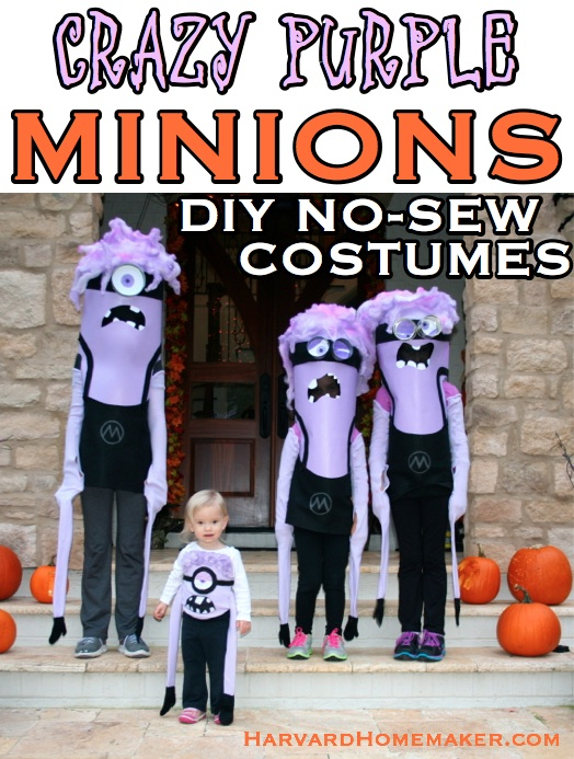 Crazy Purple Minions DIY No-Sew Costumes